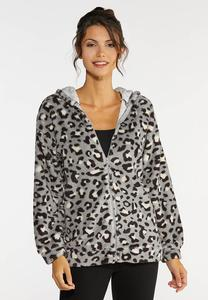 Plus Size Cozy Cheetah Zip Jacket