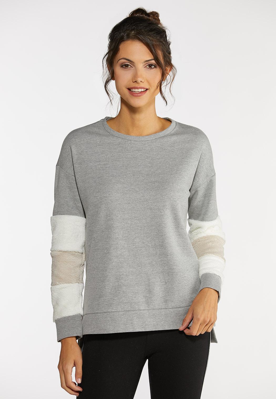 Plus Size Fur Cuff Sweatshirt
