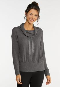 Plus Size Waffle Cowl Neck Top