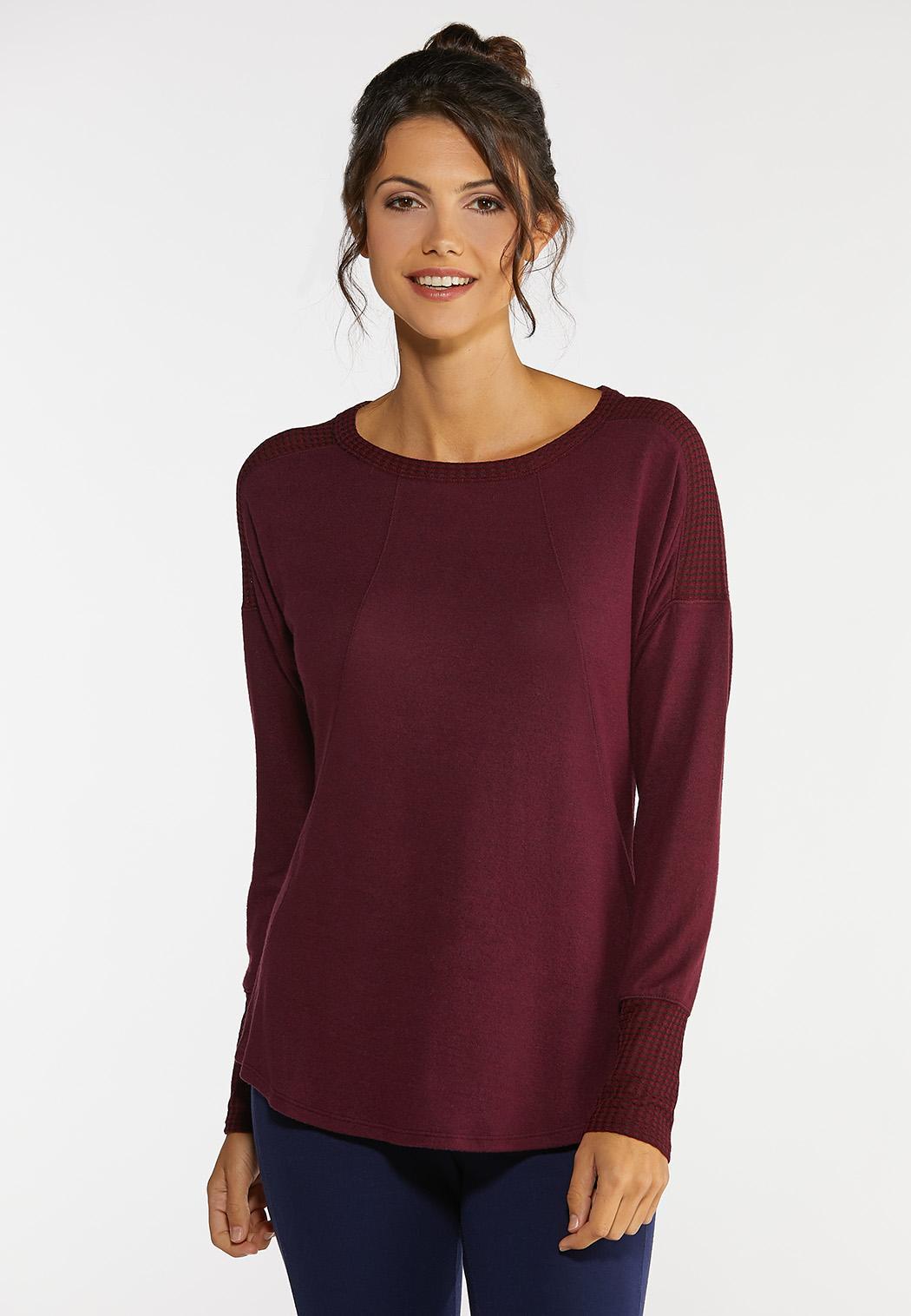 Mixed Knit Tunic Top