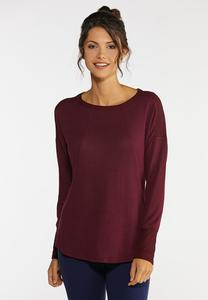Plus Size Mixed Knit Tunic Top