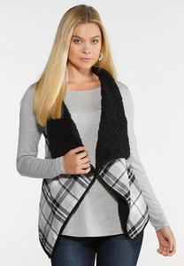 Black Plaid Reversible Vest