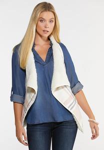 Plus Size Pink Plaid Reversible Vest