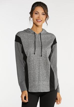 Plus Size Gray Athleisure Hooded Top