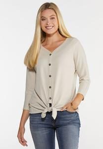 Plus Size Waffle Tie Front Top