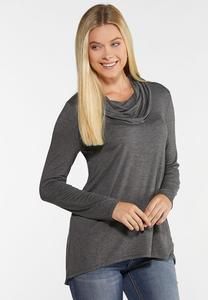 Cowl Neck High-Low Top