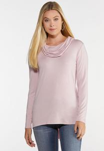 Plus Size Cowl Neck High-Low Top