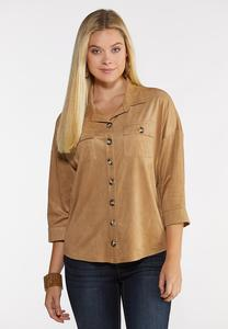 Plus Size Faux Suede Shirt