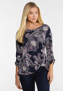 Plus Size Purple Paisley Top