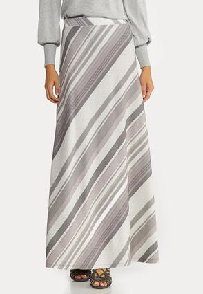 Plus Size Gray Stripe Maxi Skirt