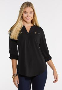 Plus Size Zipper Pocket Top