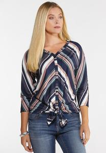 Plus Size Mitered Multi Stripe Top