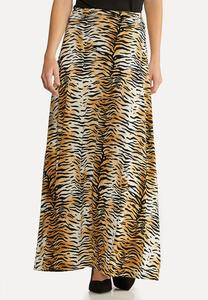 Plus Size Ruched Tiger Skirt