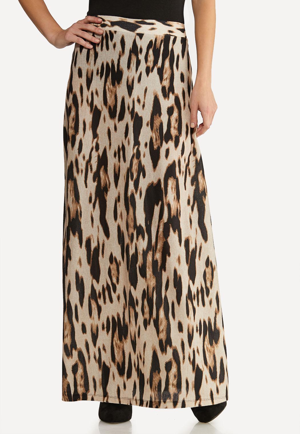 Leopard Maxi Print Skirt