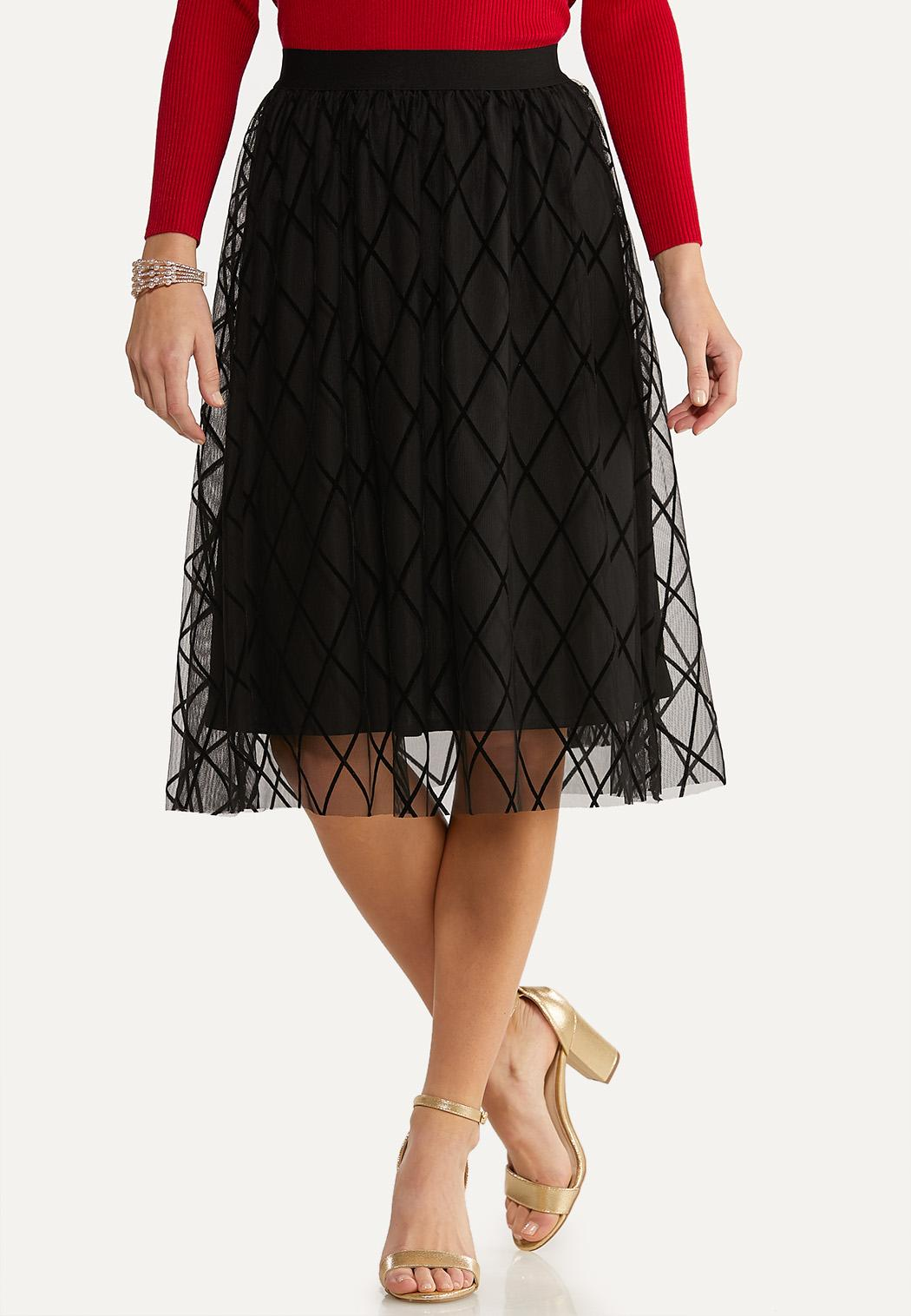 Diamond Flocked Party Skirt