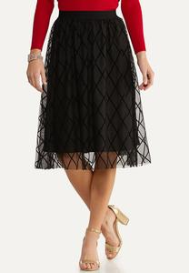 Plus Size Diamond Flocked Party Skirt