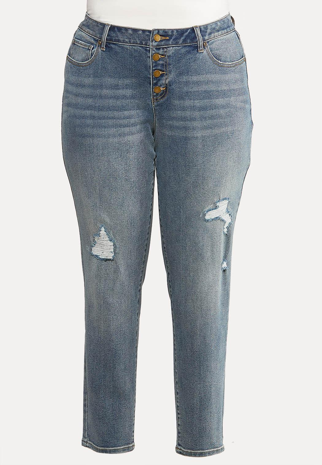 Plus Size Distressed Buttonfly Jeans