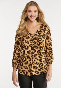 Plus Size Leopard Pullover Top