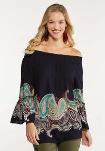 Plus Size Navy Paisley Poet Top