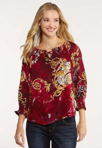 Gold Paisley Poet Top