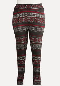Plus Size Festive Knit Leggings