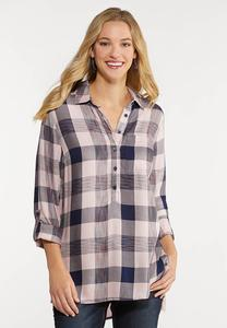 Plus Size Pink Plaid Tunic