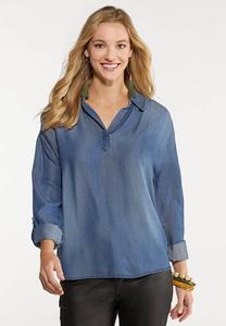 Plus Size Chambray Smocked Shoulder Top
