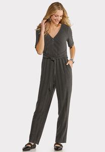 Petite Ribbed Elbow Sleeve Jumpsuit