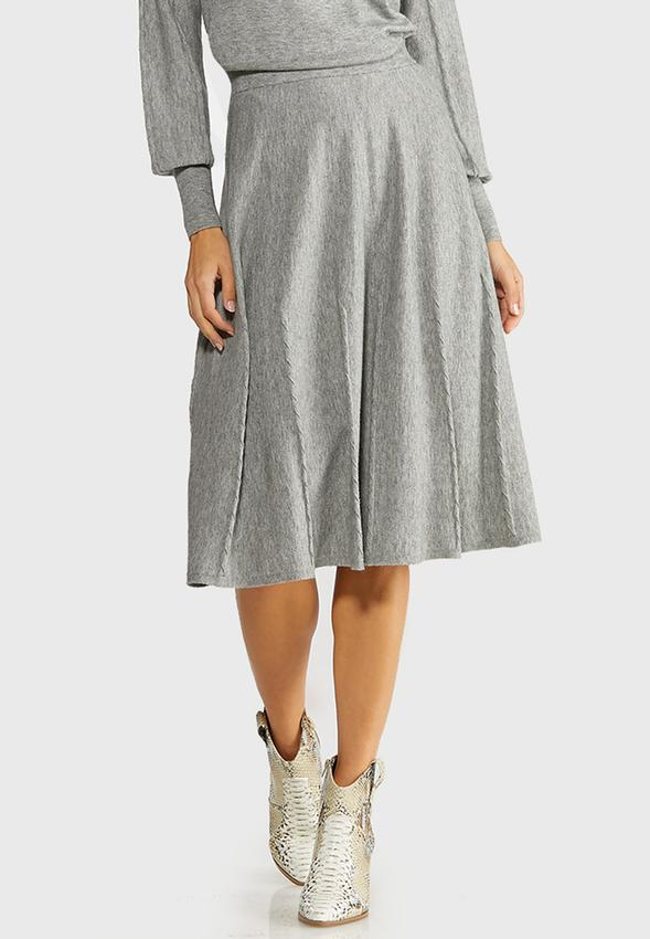 Plus Size Gray Cable Knit Skirt