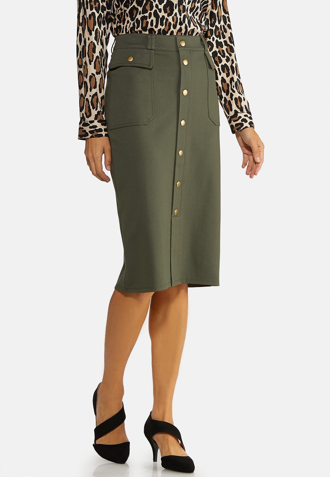 Plus Size Utility Ponte Pencil Skirt