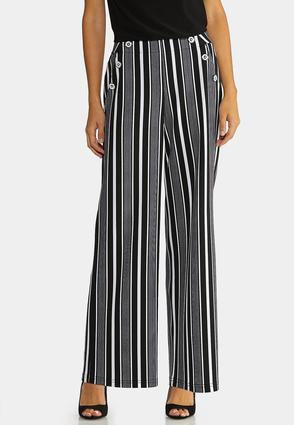 Petite Modern Stripe Wide Leg Pants