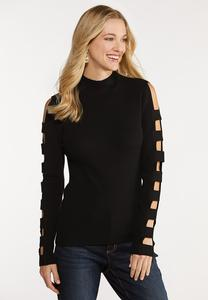 Solid Ladder Sleeve Sweater