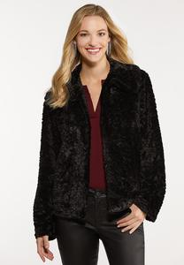 Plus Size Black Fur Jacket