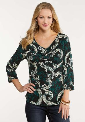 Plus Size Embellished Sparkle Paisley Top