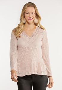 Plus Size Pink Ruffled Lace Trim Top