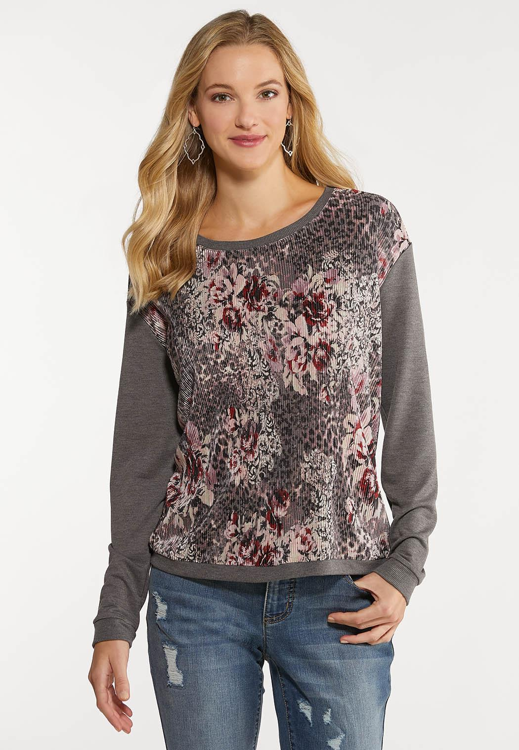 Plus Size Silky Floral Pleated Top