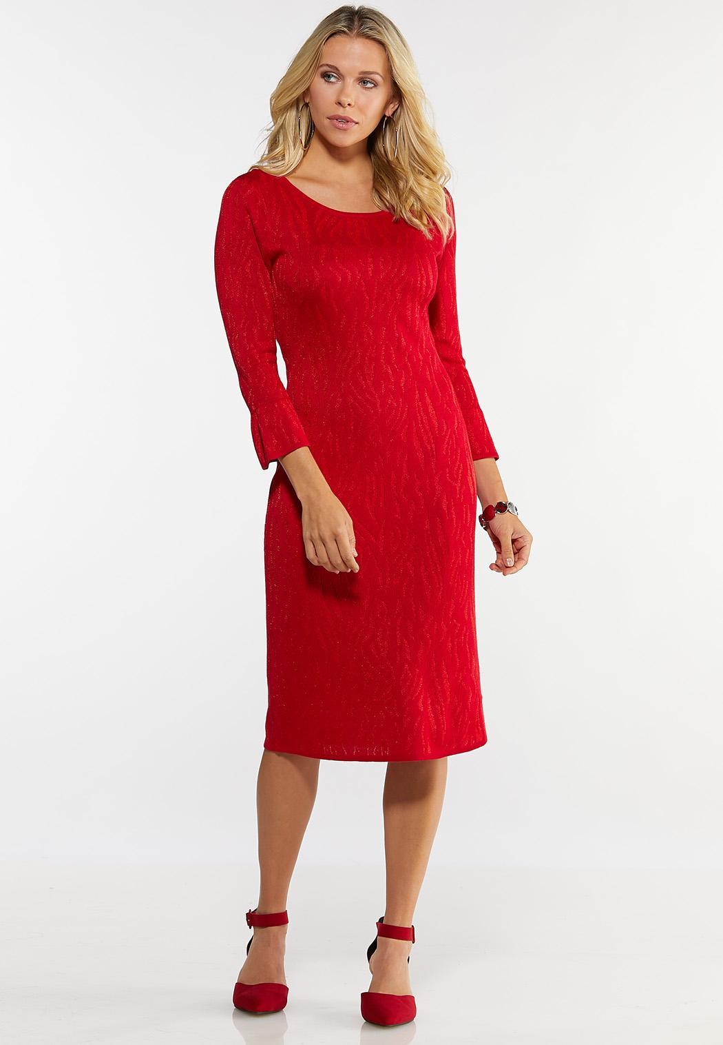 Plus Size Red Zebra Print Sweater Dress Plus Sizes Cato Fashions