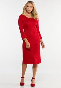 Plus Size Red Zebra Print Sweater Dress