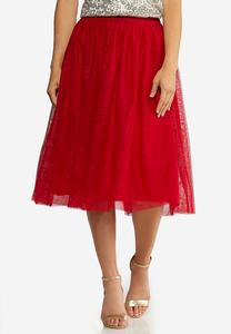 Plus Size Red Mesh Party Skirt