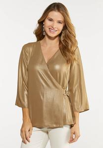 Plus Size Shimmery Gold Faux Wrap Top