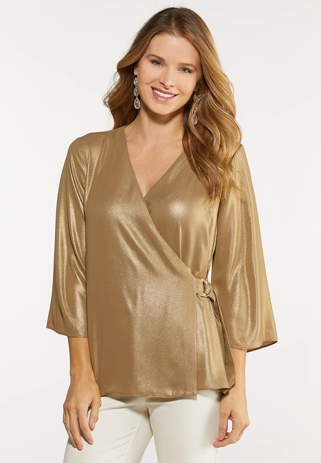 Shimmery Gold Faux Wrap Top