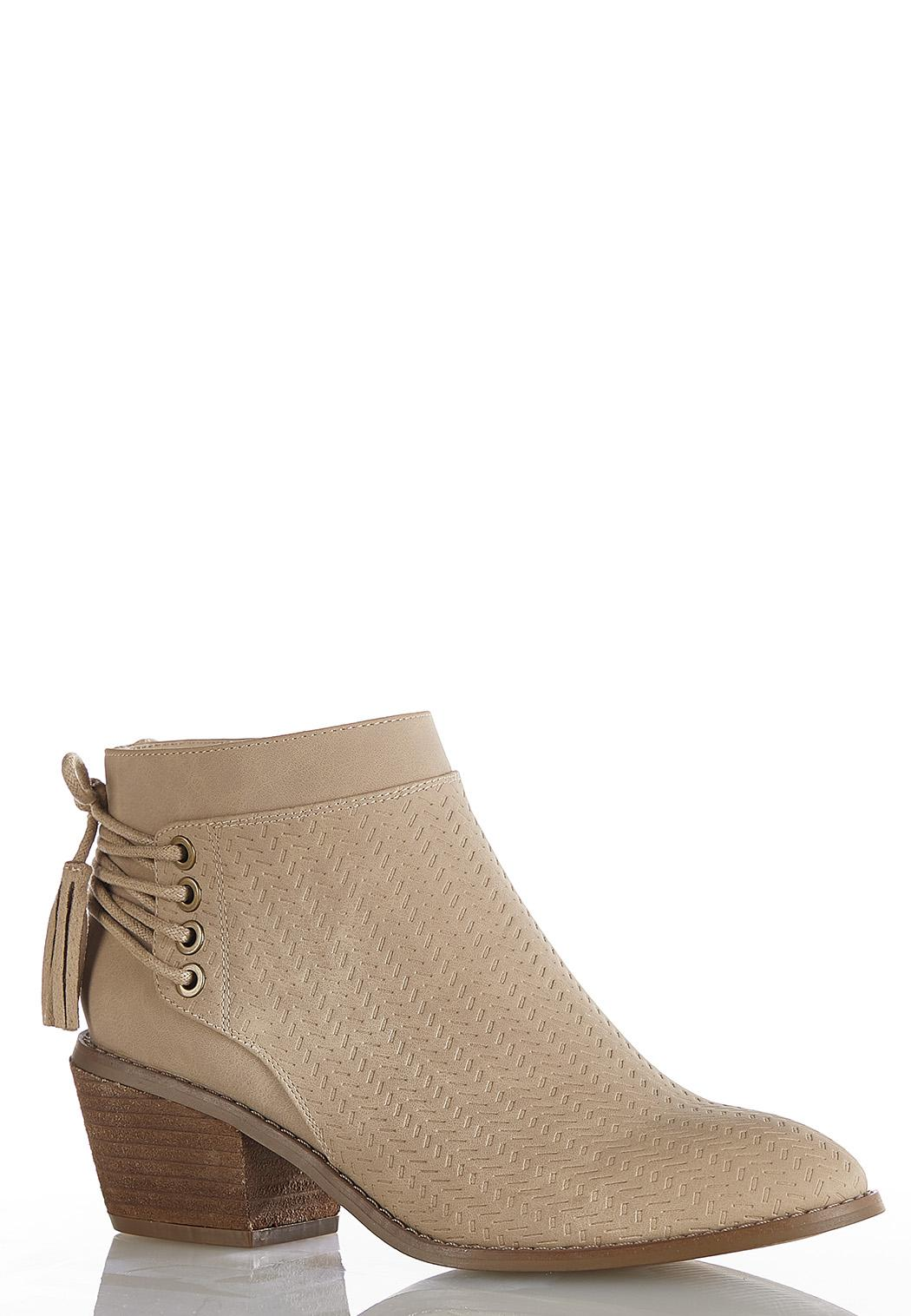 Wide Width Laced Heel Embossed Boots