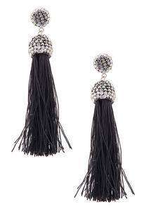 Crystal Stone Tassel Earrings