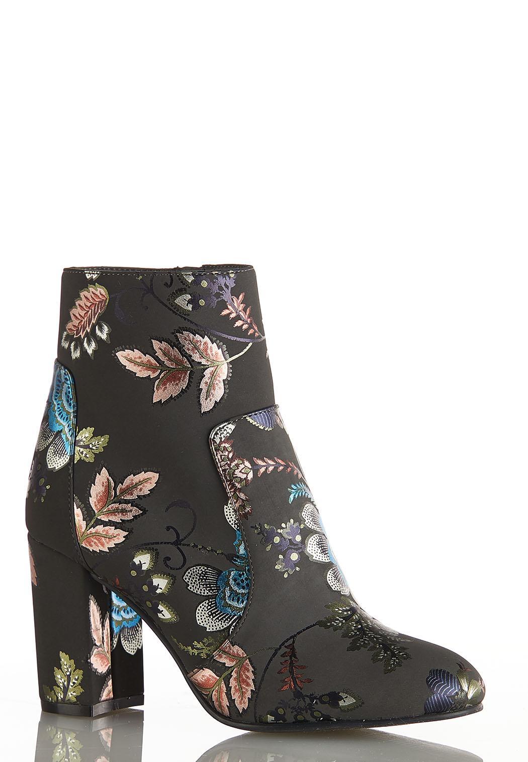 Floral Foil Ankle Boots