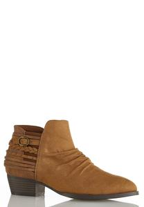 Wide Width Tooled Multi Strap Booties