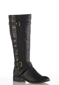 Wide Width Croc Inset Riding Boots
