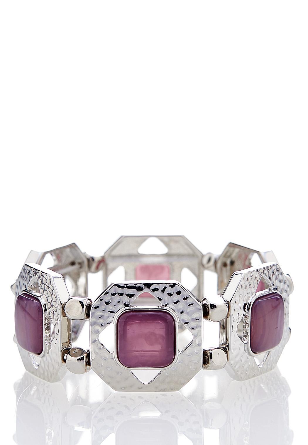 Hammered Acrylic Stretch Bracelet