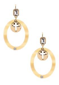 Lucite Ring Cross Earrings