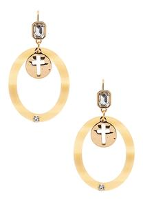 Lucite Ring Cross Earrings