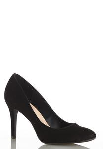 Faux Suede Round Toe Pumps